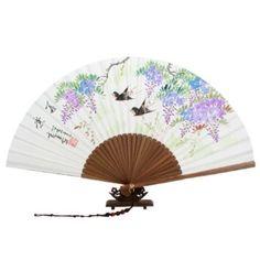 Abanico Pintado A Mano Desplegable en Papel de de Arroz de Morera Arte de Bambú con Diseñode Flor Púrpura