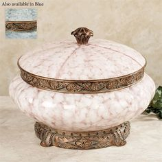 Incorporate the beauty of the Torrington Decorative Covered Bowl into your home. This ornate resin accent has a mottled, marble-finished center embellished. Antique Boxes, Antique Gold, Greenery Centerpiece, Acanthus, Home Accents, Decorative Accessories, Decorating Your Home, Pink Blue, Decorative Bowls