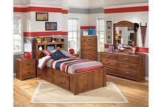 Medium Brown Barchan Twin Bookcase Bed with Storage View 3