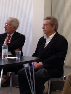 Paolo Mendes de Richa, the great Brasiliano architect, Pritzker 2006, at the Truennale, soeaking at press conference