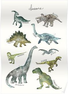 Illustration Enfant Dinosaurs as Premium Poster by Amy Hamilton Dinosaur Drawing, Dinosaur Art, Dinosaur Prints, Dinosaur Room Decor, Dinosaur Posters, Tyrannosaurus Rex, Canvas Prints, Art Prints, Art Mural