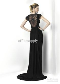 Wholesale 2012 Black chiffon bridesmaid dresses formal wear with short sleeve amp; lace detail, Free shipping, $100.8-116.48/Piece   DHgate