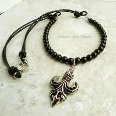 Mens Jewelry  Fleur De Lis Pendant Necklace 22in by mamisgemstudio, $54.95