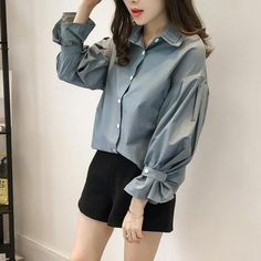 New Korean Autumn Fashion Women Slim Speaker sleeves Top Blouse Loose Shirt Polo Collar Shirts, Shirt Blouses, Collar Blouse, Iranian Women Fashion, Korean Fashion, Fashion Women, Bluse Outfit, Loose Shirts, Mode Hijab