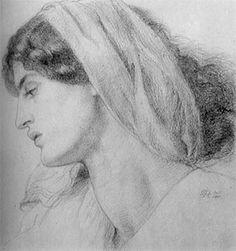Study of Jane Morris for the Virgin in 'The Seed of David' by Dante Gabriel Rossetti, 1861  Source: Walker Art Gallery