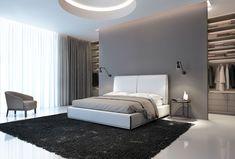 Modern Master Bedroom, Bedroom With Ensuite, Master Bedroom Design, Contemporary Bedroom, White Bedroom, Modern Bedroom Design, Wardrobe Behind Bed, Luxurious Bedrooms, Luxury Bedrooms