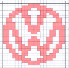 php VW logo C2c Crochet, Crochet Diagram, Crochet Beanie, Crochet Crafts, Knitted Hats, Knitting Charts, Knitting Patterns Free, Free Knitting, Hama Beads Patterns