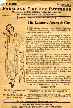 1920's vintage aprons | 1920's apron and cap, thoughtfully designed to use little fabric. I ...
