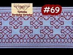 PONTO BASTILHA - PONTO ALINHAVO - Tathinha Bordados #69 - YouTube Swedish Embroidery, Sashiko Embroidery, Blackwork, Huck Towels, Oriental, Swedish Weaving, Drawn Thread, Needlepoint, Embroidery Designs