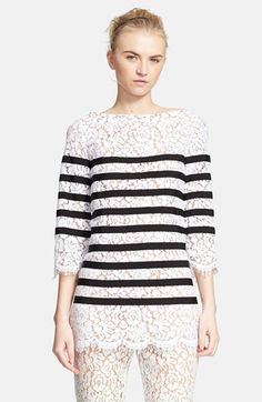 Michael Kors Stripe Floral Lace Top available at #Nordstrom