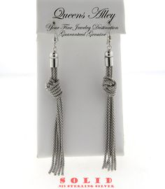 Genuine Solid .925 Sterling Silver Knotted Long Dangle Earrings. Starting at $1