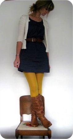 Dress and yellow leggings