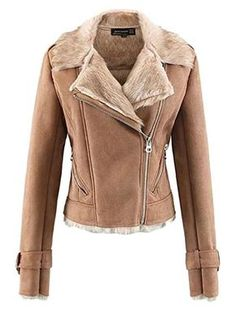 07e07a02174a8 Beloved Women Winter Oblique Zipper Lapel Suede Fur Lined Slim Fit  Motorcycles Jackets