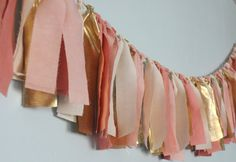 Blush pink and gold hand dyed Fabric rag garland - Wedding & Party decor, photo backdrop via Etsy