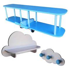 Repisa Perchero Infantil Estante Avión Nubes - $ 650,00 en MercadoLibre