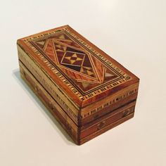 Unique Handmade Vintage Mother of Pearl Mosaic Inlaid Wood Jewelry Box Design E