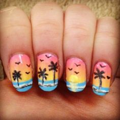"""""""#emmacarrnails #nails #nailart #naildesign #nailpromote #nails2inspire #craftyfingers #freehandnailart #gradientnails #sunnails #sunsetnails #beachnails #palmtrees #palmtreenails #glamnailschallenge #nailartchallengejune inspired by @lilmaynails"""" Photo taken by @emmacarrnails on Instagram, pinned via the InstaPin iOS App! http://www.instapinapp.com (06/21/2015)"""