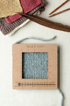 square gauge ruler by twig & horn / newly updated to sturdy, eco-friendly MDF board / marked in inches and centimeters, with needle gauge 0-15 US [2-10 mm] / at quince & co.