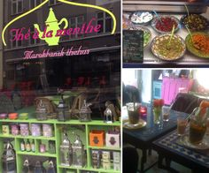 The A La Menthe. En charmerende marrokansk indrettet cafe med lækre fyldige salater, the, stemningsfuld musik og så spændende og farverigt indrettet, at børn ikke vil kede sig.