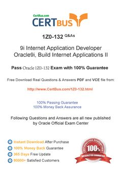 Candidate need to purchase the latest Oracle 1Z0-132 Dumps with latest Oracle 1Z0-132 Exam Questions. Here is a suggestion for you: Here you can find the latest Oracle 1Z0-132 New Questions in their Oracle 1Z0-132 PDF, Oracle 1Z0-132 VCE and Oracle 1Z0-132 braindumps. Their Oracle 1Z0-132 exam dumps are with the latest Oracle 1Z0-132 exam question. With Oracle 1Z0-132 pdf dumps, you will be successful. Highly recommend this Oracle 1Z0-132 Practice Test.