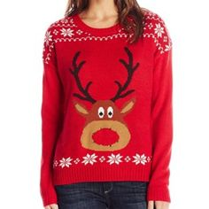 Rudolph with Light-Up Nose Ugly Christmas Sweater