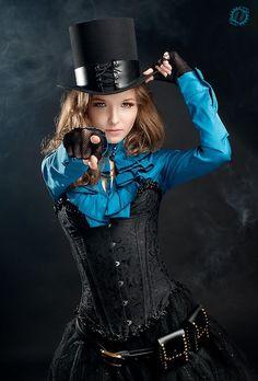 Steampunk Corset y blusa azul