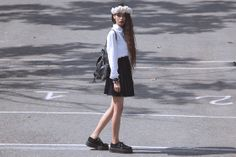 Diy Roses Crown, H&M Shirt, Velvet Skirt, Thrift Store Leather Backpack, T.U.K Creepers