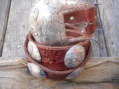 Margaret Sullivan concho belt...Great super original piece, hand formed sterling conchos and buckle on a one of a kind hand carved belt
