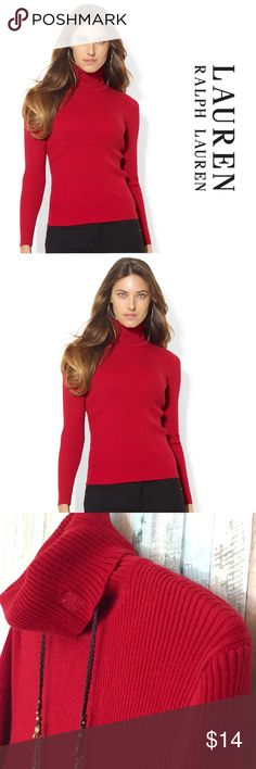 🌹 Lauren by Ralph Lauren Sweater Color of this season and the queens favorite color RED! 100% Cotton, the turtle neck is very well structured and has a nice little detail on it I am hoping you have noticed? ♥️🐇 Fall/Winter classic and well as your best friend in a chilly day. 👑 #Staywarm Lauren Ralph Lauren Sweaters Cowl & Turtlenecks