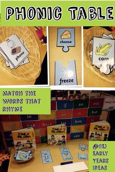 Rhyming activity on the phonic table