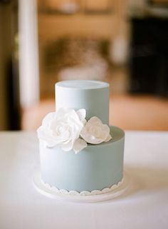 Beautiful mint themed wedding cake!