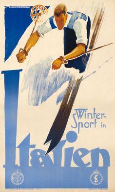 By Franz J. Lenhart (1898-1992), ca. 1935, Winter Sport in Italien. (Austrian)