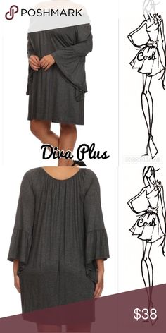 1 Left! Diva Plus Gray Dress Diva plus gray dress. Dress you can wear on or off shoulders. Dress has long belle sleeves. Stops above knee. Plus size only. ✨Price is firm unless bundled. Cosb Dresses