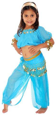 6-Piece Girls/Kids Arabian Princess Genie Costume - JASMINE BLUE