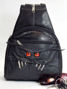 Backpack Purse Black Leather Bag Goth LARP RPG Cosplay This creature is  called a Baggen and 1b328b2f7aa27