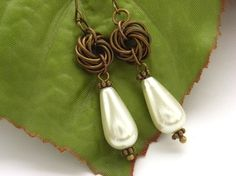 Faux pearl chainmaille vintage style bronze earrings £20.00