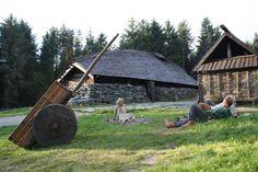 Viking House, Viking Life, Viking Art, Viking Decor, Viking Woman, Vikings, Middle Ages Church, Viking Village, Fire Hall