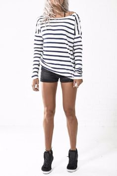 Sugar Nights Top is another wardrobe essential featuring a crew neck, long sleeves and classic stripe cotton fabric.   Striped Long-Sleeve Jumper by One Teaspoon. Clothing - Tops - Long Sleeve Melbourne, Victoria, Australia
