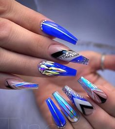 """If you're unfamiliar with nail trends and you hear the words """"coffin nails,"""" what comes to mind? It's not nails with coffins drawn on them. Although, that would be a cute look for Halloween. It's long nails with a square tip, and the look has. Orange Nail Designs, Acrylic Nail Designs, Nail Art Designs, Acrylic Nails, Coffin Nails, Gel Nails, Nail Nail, Matte Nails, Nail Polish"""