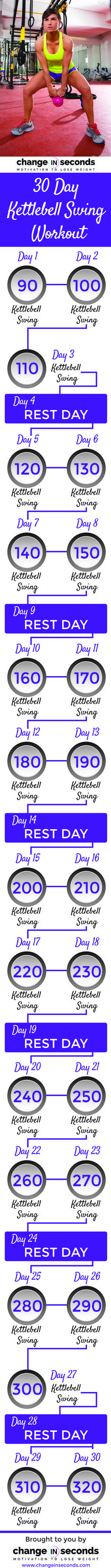 30 Day Kettlebell Swing Workout (Download PDF) http://www.changeinseconds.com/30-day-kettlebell-swing-workout/