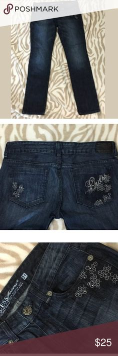 GUESS Jeans Dark Wash Straight leg rhinestone WORN 1 TIME! Has only been hand washed (did not use washer machine or dryer!), so it is in great condition and well taken care of!  Size 31 Inseam (measured from crotch seam): 31.5in 99% cotton, 1%lycra Beautiful dark wash with a straight leg fit.   Please see all my pictures for the condition and color! Computer monitors/screens may vary, but I always try to capture the color and condition as accurately as possible for you! Guess Jeans Straight…