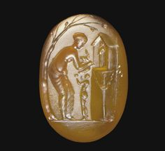 Chalcedony ring stone, Venus before an aedicula enclosing a figure of Priapus & a draped girl in between offering a bowl to the goddess Roman, ca. late 1st century BC - early 1st century AD