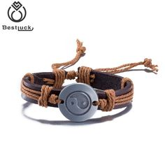 Fashion Feng Shui Lucky Bracelet Tai Chi Eight Diagrams Multilayer Leather Butterfly Charm Bracelet Gift For Friend  Jewelry