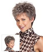 Synthetic short wig by Eva Gabor. This barely-there, easy care fashion cut includes a hand tied top for light, cool comfort and a sheer scalloped hairline for off the face styling. Wear it tousled or