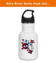 Kid's Water Bottle Punk Girl Skulls Peace Symbol. Product Number: 0001-1612359345 Perfect for school lunches or soccer games, our kid's stainless steel water bottle quenches children's thirst for individuality. Personalized for what kids love, it's both eco-friendly and compact. Made of 18/8, food-grade stainless steel. * No lining & no BPA or other toxins * Wide mouth for easy drinking * Durable, BPA-free & phalate-free screw-on top * Holds 0.35L (nearly 12 ounces) * Thin profile to fit...