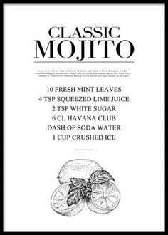 Kökstavla med recept på Mojito.