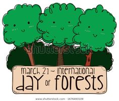 Cute tree friends in doodle style smiling at you, with tall bushes over sign promoting International Day of Forests in March International Day, March 21, Forests, Royalty Free Stock Photos, Doodles, Sign, Friends, Illustration, Cute