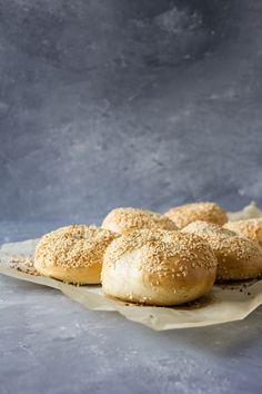 Homemade Sesame bagels Homemade Sesame Bagels, Dehydrated Onions, Bagel Recipe, Dry Yeast, Baking Soda, Bakery, Brunch, Rolls, Eat