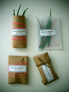 Sticky labels on a humble toilet roll, kraft or baking paper - with a touch of ribbon