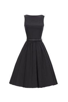 7d7e2693e94 ILover Classic 50s Audrey Hepburn Boat Neck Black Swing Retro Vintage Dress  Retro Vintage Dresses